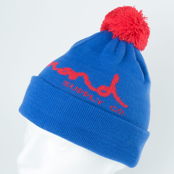 Diamond OG Script Fold Pom Beanie Blue Red
