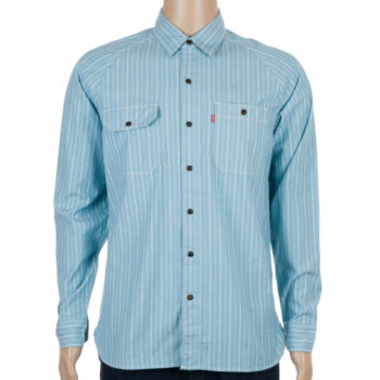 Levi's Skate Clothing Maintenance Long Sleeve Shirt Stripe Blue