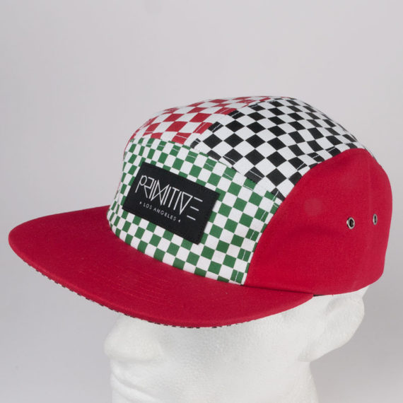 Primitive Clothing Chex 5 Panel Hat Red 1