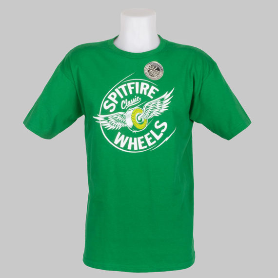 Spitfire Wheels T-Shirt Flying Classic Kelly White 1