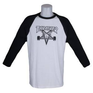 Thrasher Magazine Skate Goat Raglan White Black