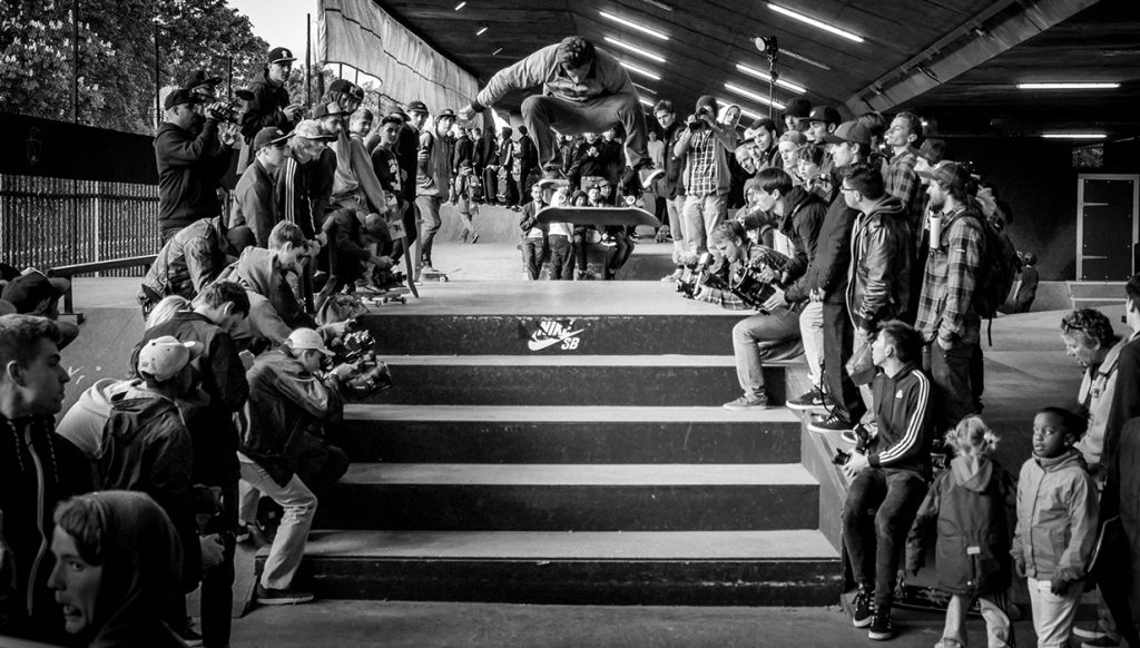 Carlos Ribeiro with a Frontside Flip down the 5 stair in BaySixty6, London.