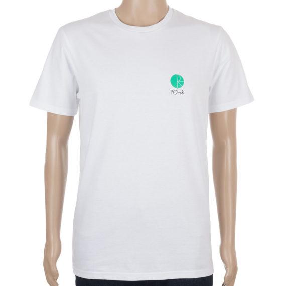 Polar Skateboards T-Shirt Fill Chest Logo White Green