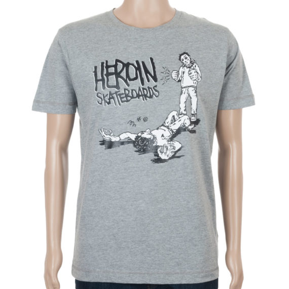 Heroin Skateboards T-Shirt K.O. Grey