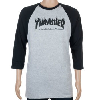 Thrasher Flame Raglan T-Shirt Grey Black