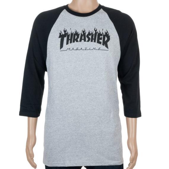 Thrasher Flame Raglan T-Shirt Grey Black