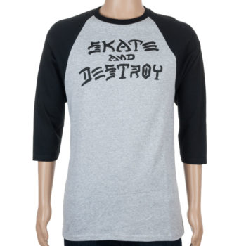 Thrasher Skate And Destoy Raglan T-Shirt Grey Black