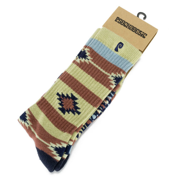 Psockadelic Socks Native Stripe Olive Burgundy Navy - Skate Pharm