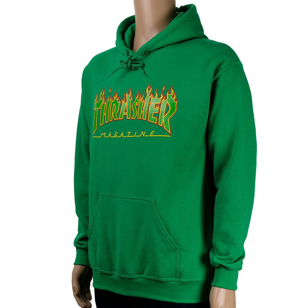 Thrasher Flame Hoodie Rasta Green Available Skate Pharm
