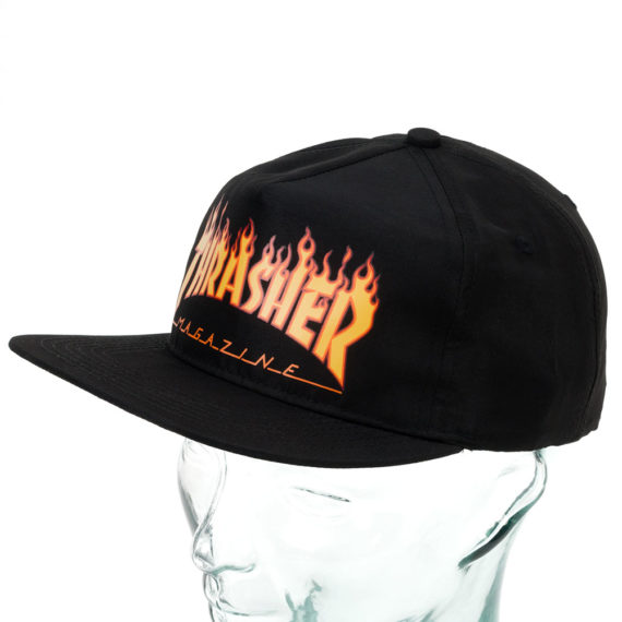 Thrasher Flame Logo Snapback Hat Black