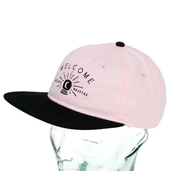 Welcome Dark Energy Six Panel Hat Pink Black