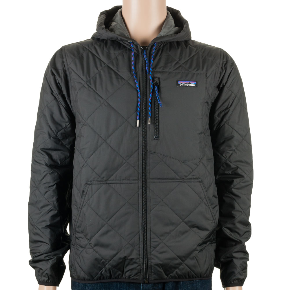 Patagonia Diamond Quilted Bomber Hoodie Black At Skate Pharm