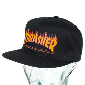 Thrasher Flame Logo Structured Snapback Hat Black