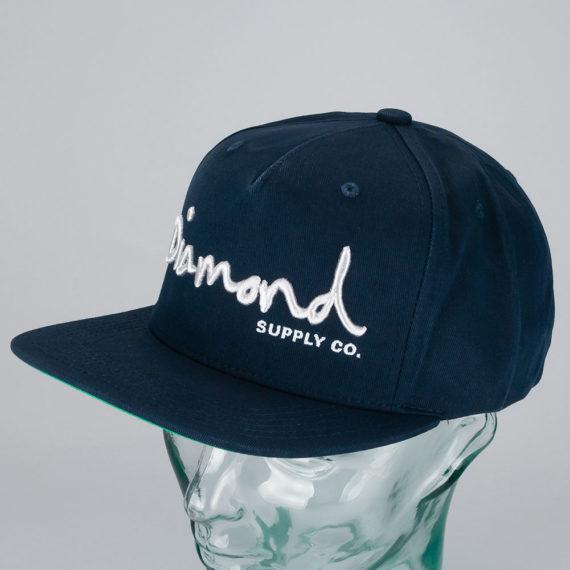 Diamond OG Script Snapback Hat Navy
