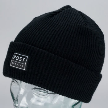 Post Details Cuff Beanie Black