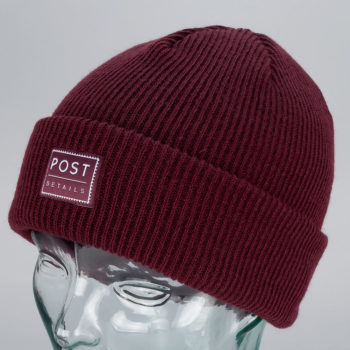 Post Details Cuff Beanie Burgundy