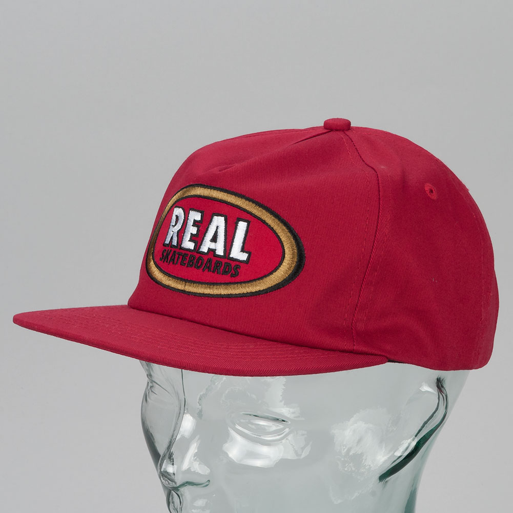 Real Skateboards Oval Patch Snapback Hat Red 8a4c7bd69c2