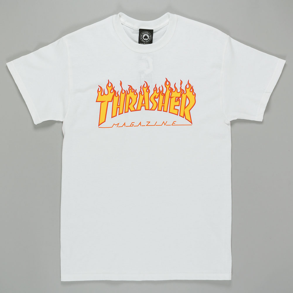 Thrasher Magazine Flame Logo Shirt White Available