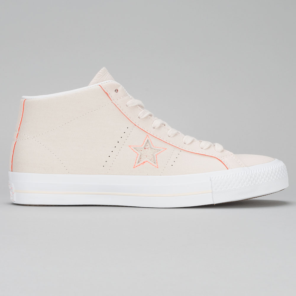 2915101523f407 Converse One Star Pro Mid Shoes Natural Orange White at Skate Pharm