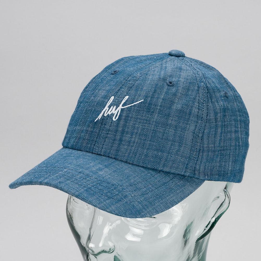 3407f77cc0a Huf Script Slight Curved Brim 6 Panel Hat Blue Available at Skate Pharm