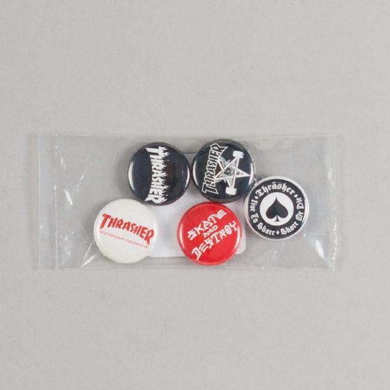 Thrasher Logo Badges Pack Of 5