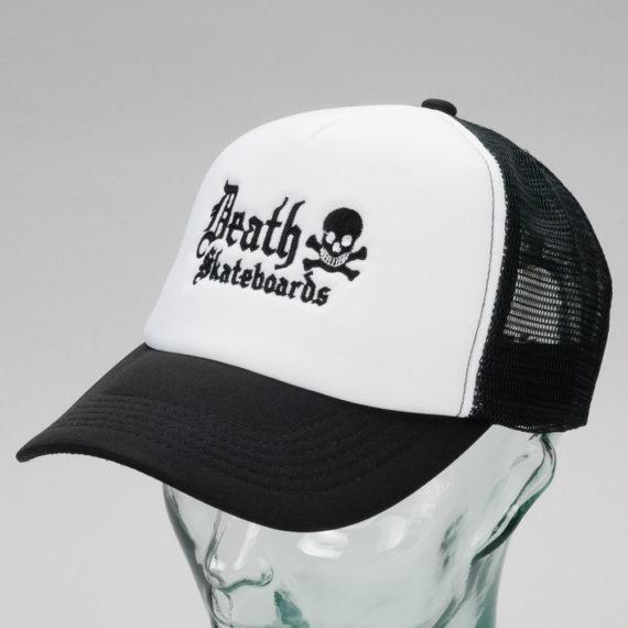 Death Skateboards Logo Trucker Cap White Black
