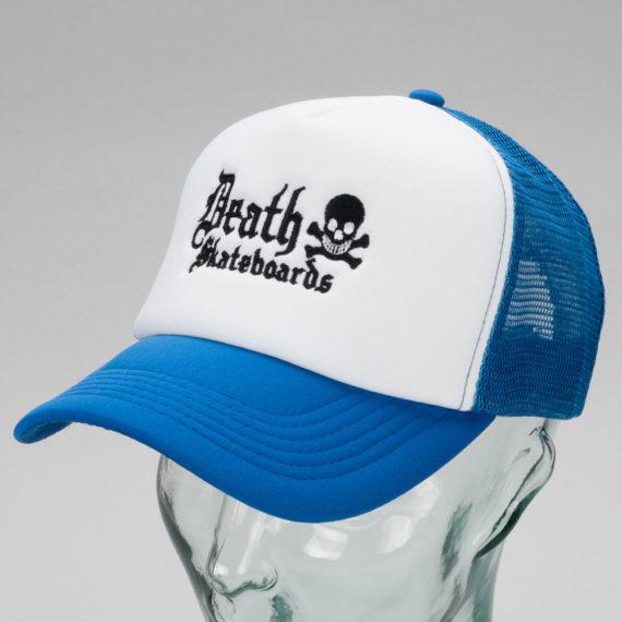Death Skateboards Logo Trucker Cap White Blue