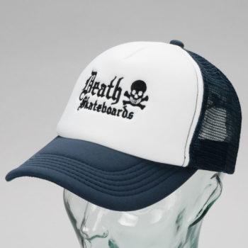 Death Skateboards Logo Trucker Cap White Navy