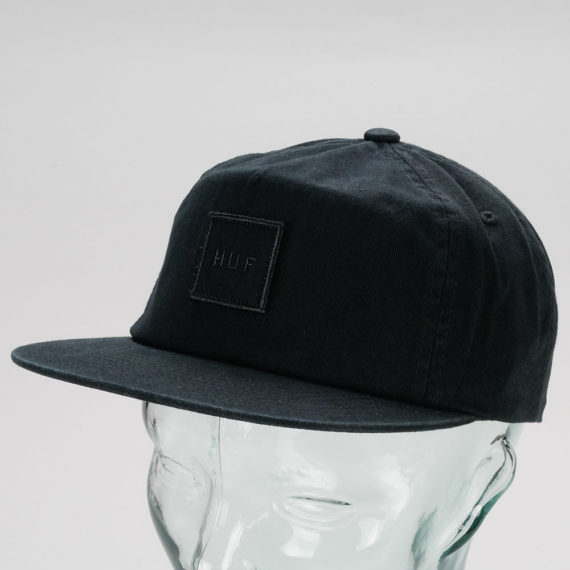 Huf Wash Box Logo Snapback Hat Black