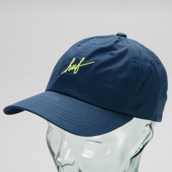 Huf Script Curved Brim 6 Panel Hat Navy
