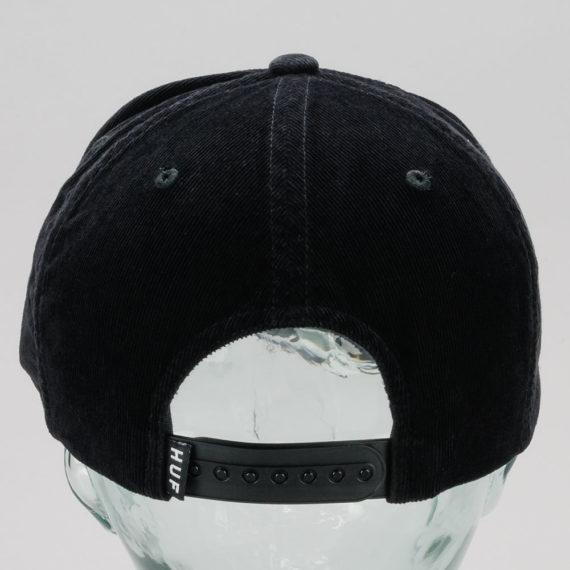 Huf Corduroy Bar Logo Snapback Hat Black