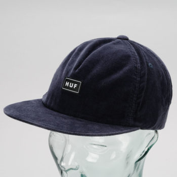 Huf Corduroy Bar Logo Snapback Hat Navy