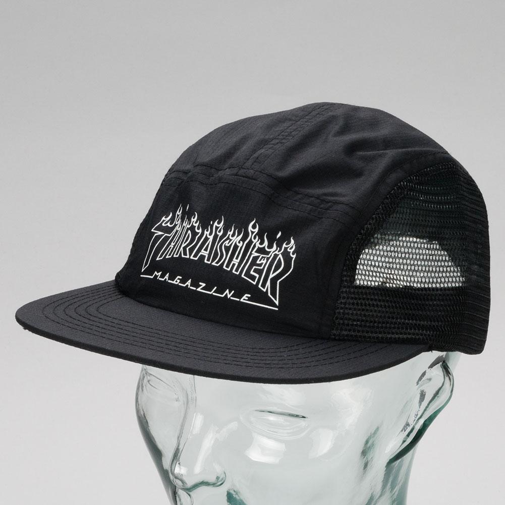 Thrasher Flame Outline 5 Panel Hat Black Available at Skate Pharm fbd8dda0bb9