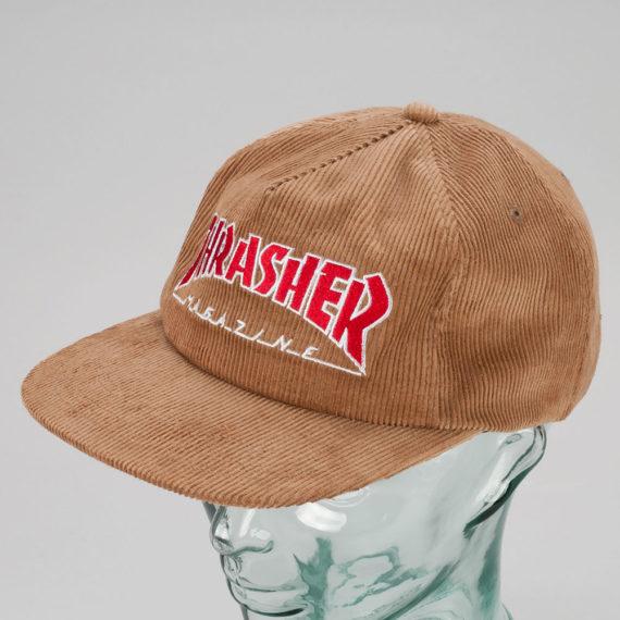 Thrasher Magazine Logo Corduroy Snapback Cap Gold