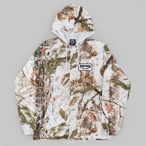 Thrasher Patch Hooded Coach Jacket Snow Camo
