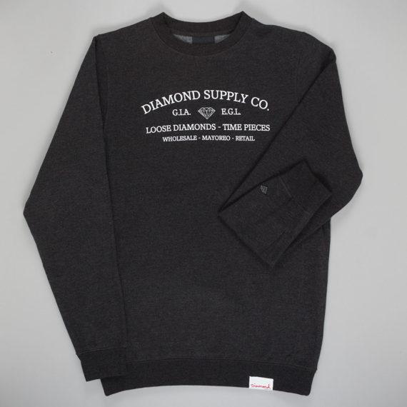 Diamond Timepiece Crewneck Sweatshirt Charcoal
