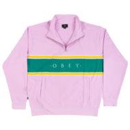 Obey Palisade Mock Zip Sweater Pink