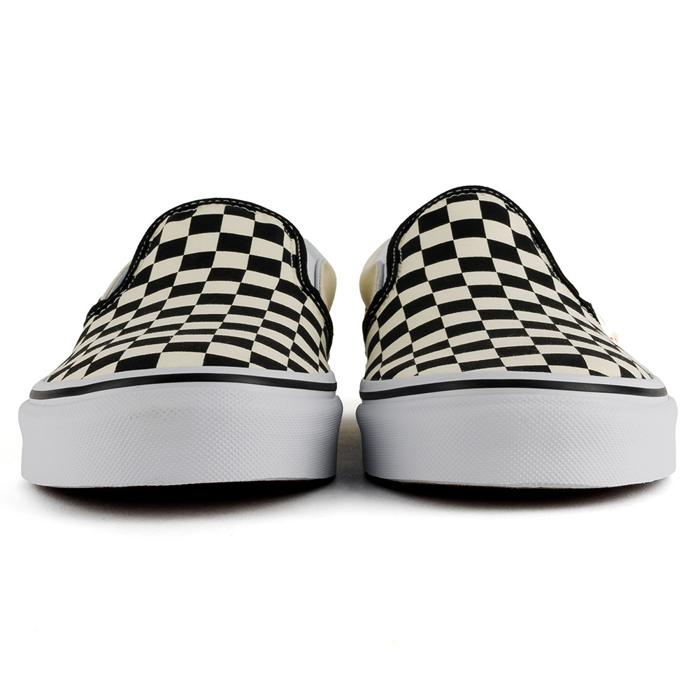 vans checkerboard slip on white