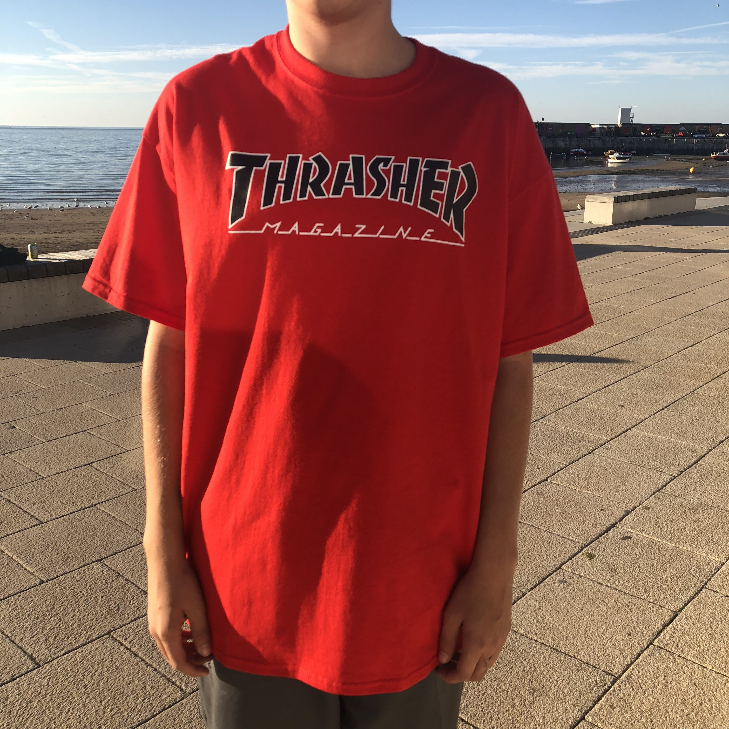 49cd35f3470 Home   Shop   Clothing   T Shirts   T-Shirts - Short Sleeve   Thrasher  Magazine Outline Logo T-Shirt Red