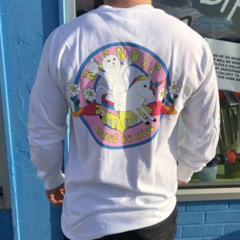 Rip/'N/'Dip Unicorn Rider Long Sleeve T-Shirt White skateboard